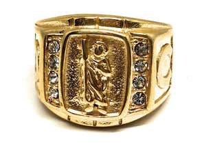 Men's Gold Plated Saint Jude White Stone Ring San Judas Anillo