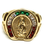 Gold Plated Virgin Mary Color Stone Ring Virgen De Guadalupe Anillo