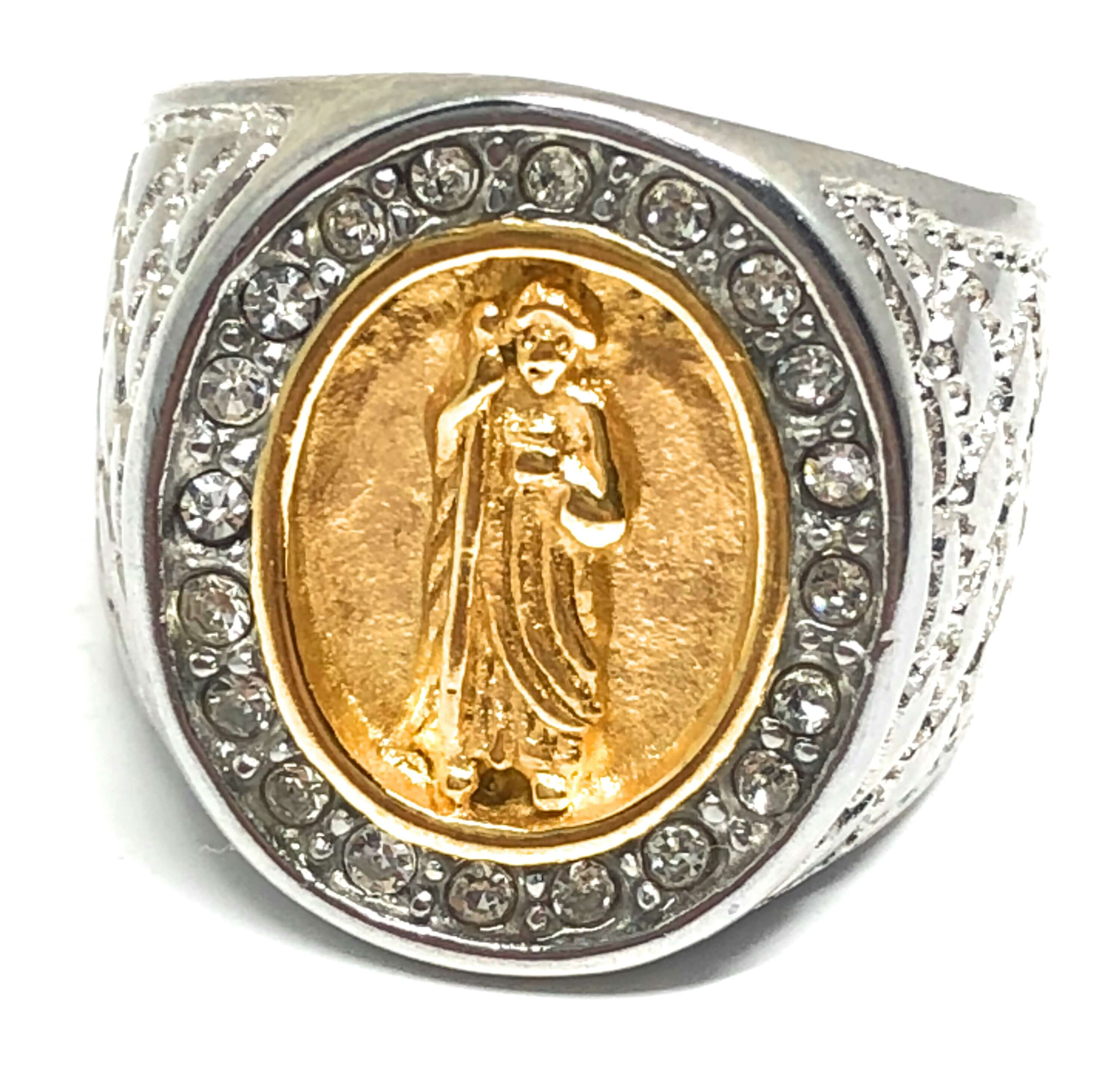 Men's Gold Plated Saint Jude White Gold Ring San Judas Anillo