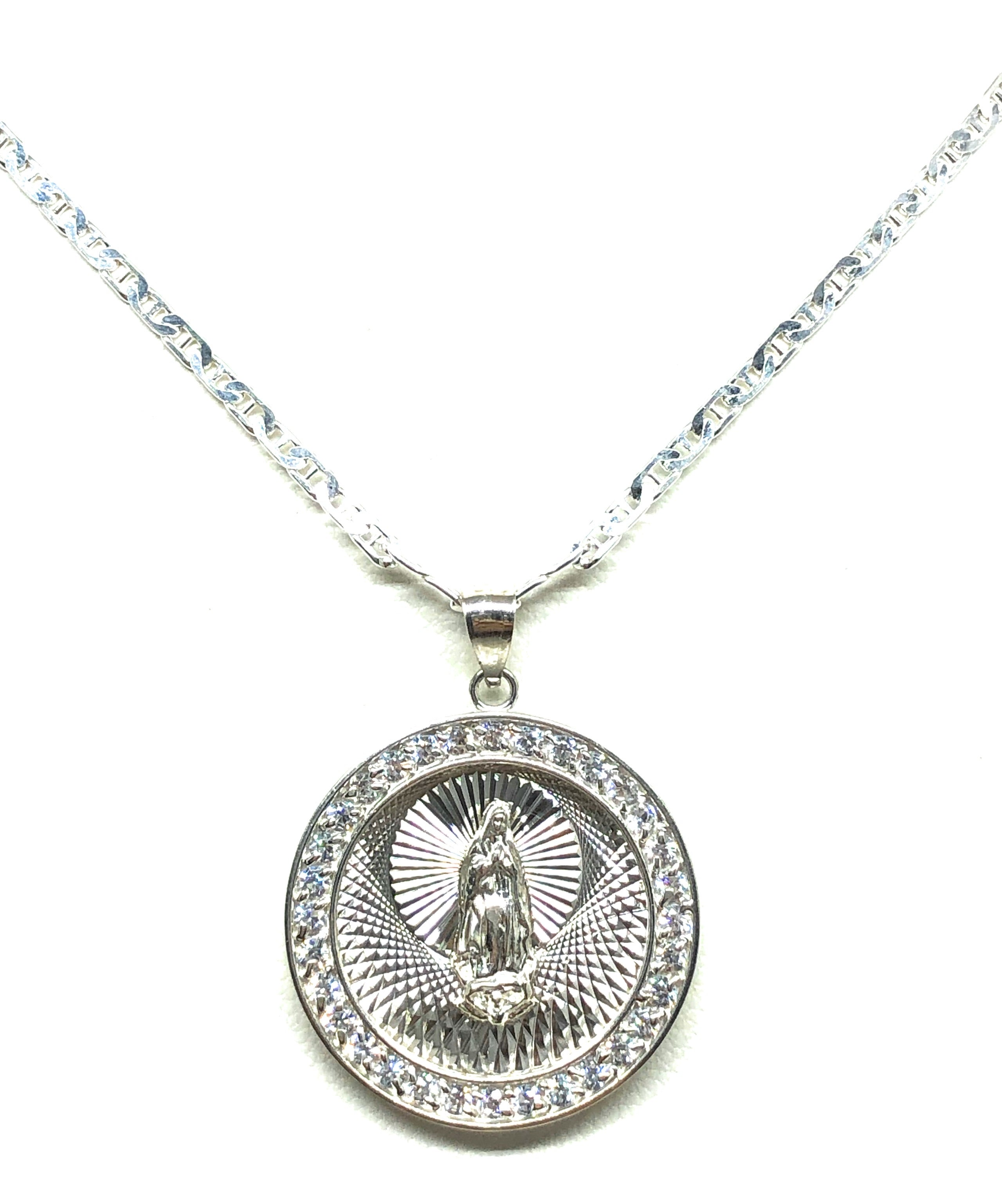 .925 Silver Round Virrgin Marry Pendant CZ Necklace with Chain Options