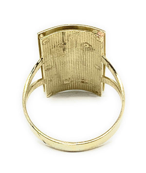 10k Solid Gold Yellow & White Gold Square Saan Judas Ring