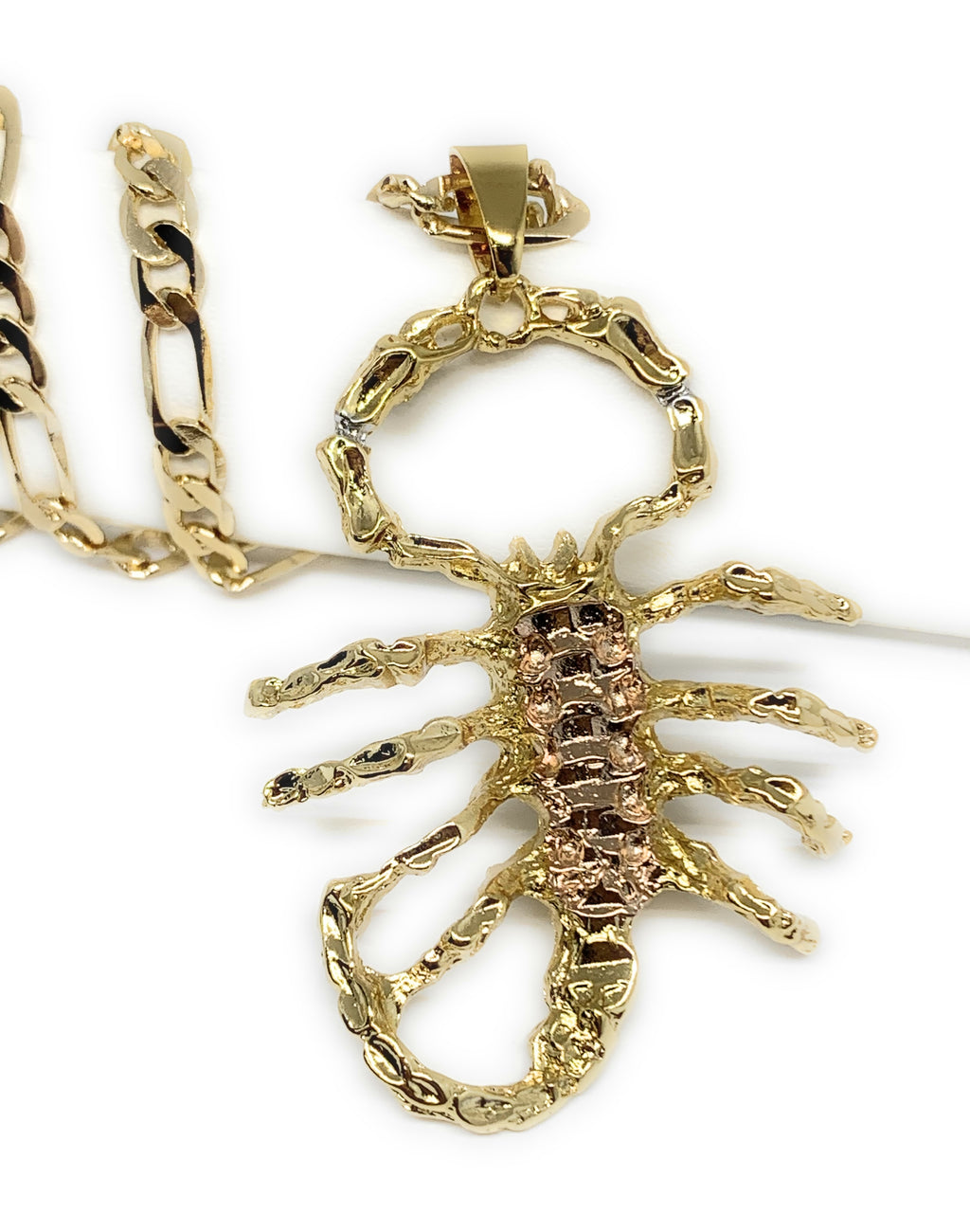 "Gold Plated Yellow and Rose Big Scorpion Pendant Necklace 26"" inch Alacran"