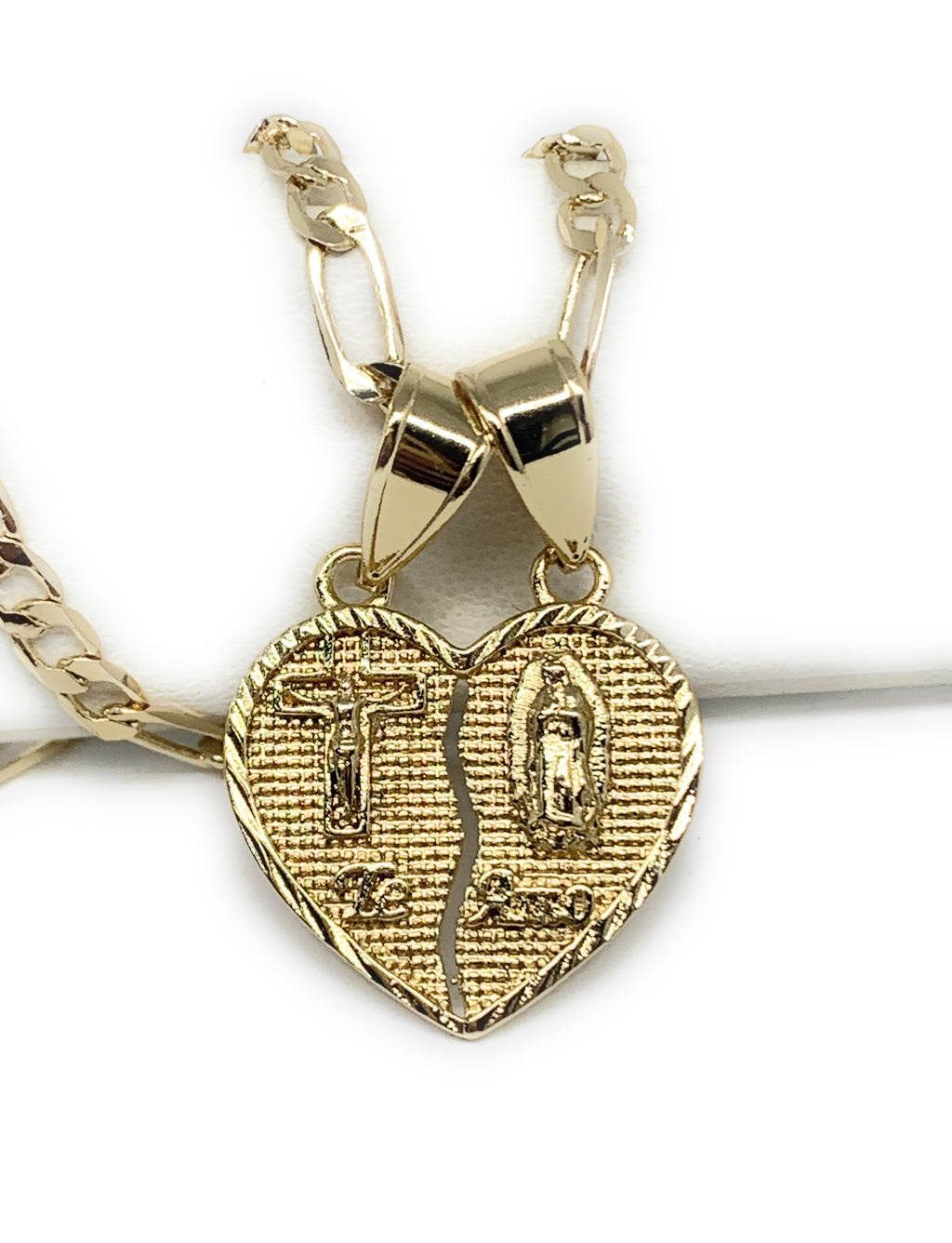 "Gold Plated Yellow Virgin Mary Heart & Christ ""Te Amo"" Heart Split Pendant Necklace 24"" Virgen de Guadalupe"