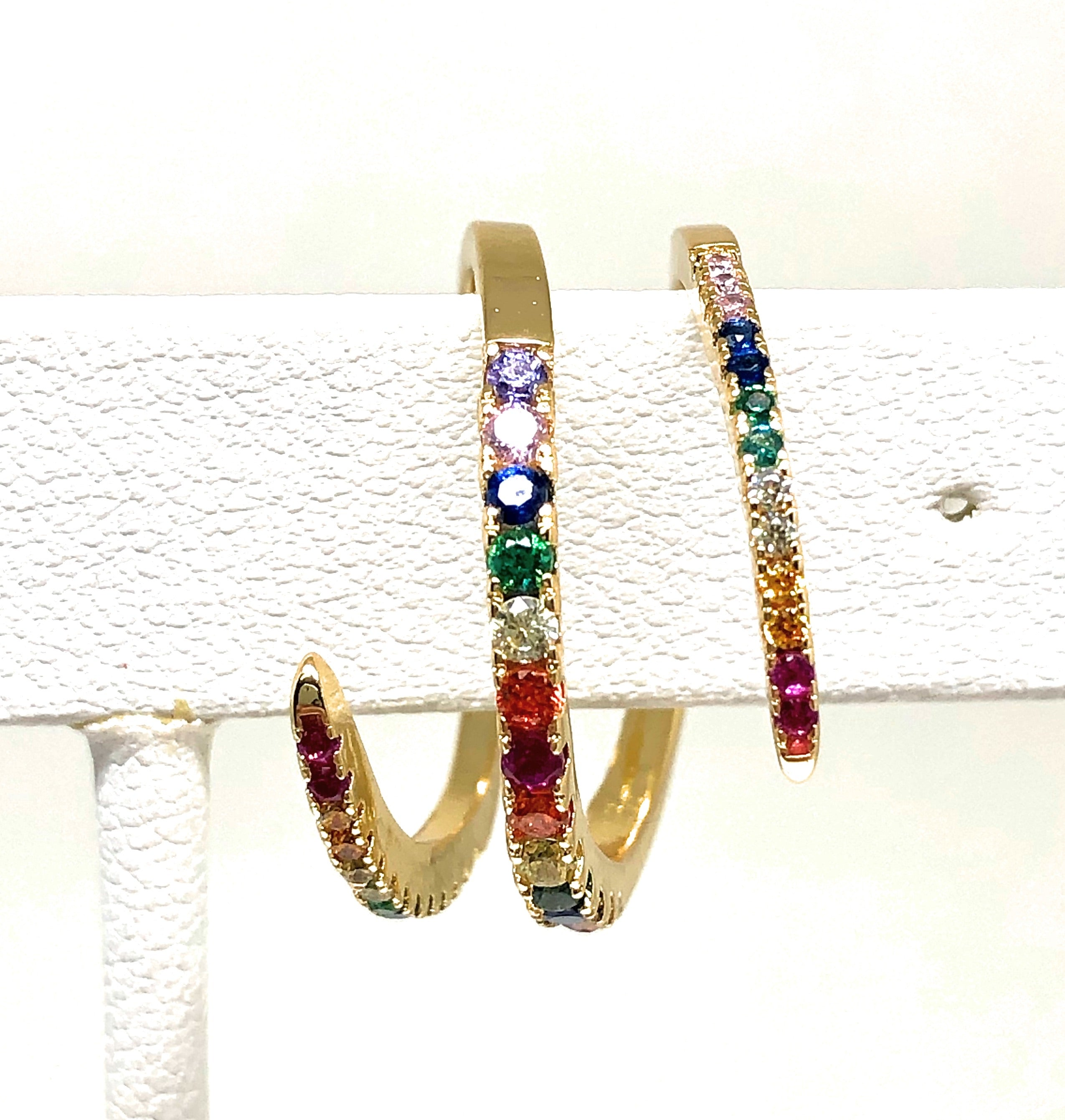 Gold Plated Multi-Color Vibrant Stones Curl Ring Anillo