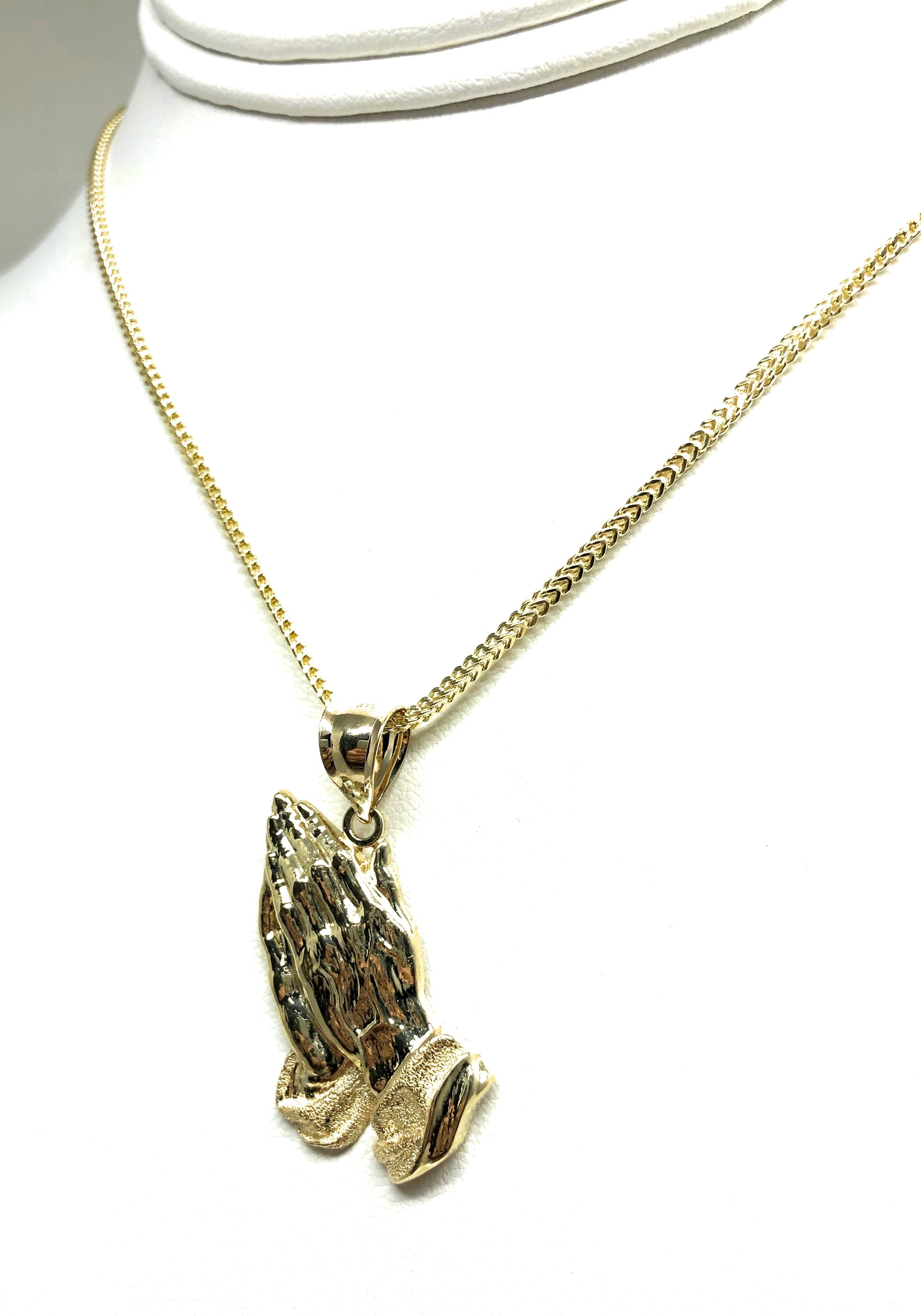 10k Solid Gold Yellow Prayer Hands Pendant Necklace with Chain Options
