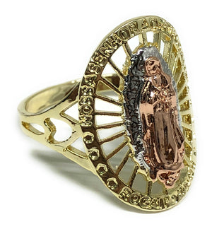 Tri-Color Gold Plated Virgin Mary Ring Virgen De Guadalupe Anillo Tres Colores - Fran & Co. Jewelry