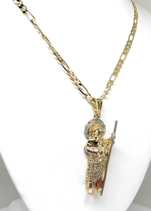 Gold Plated Tri-Color Saint Jude Pendant White CZ Necklace Figaro San Judas Tadeo Medalla