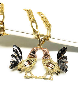 10k Solid Gold Tri-Color Rooster Pendant Necklace with Chain
