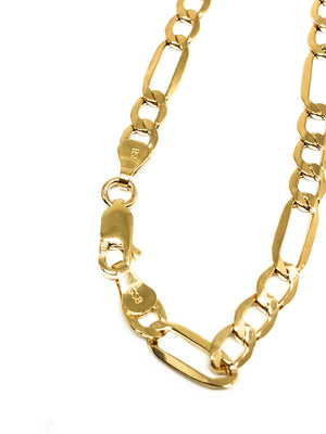 10k Solid Gold Figaro Chain 22-28 inches 4.5mm (Semi-Hollow Style)