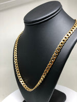 "Gold Plated 30"" 7mm Cuban Link Chain"