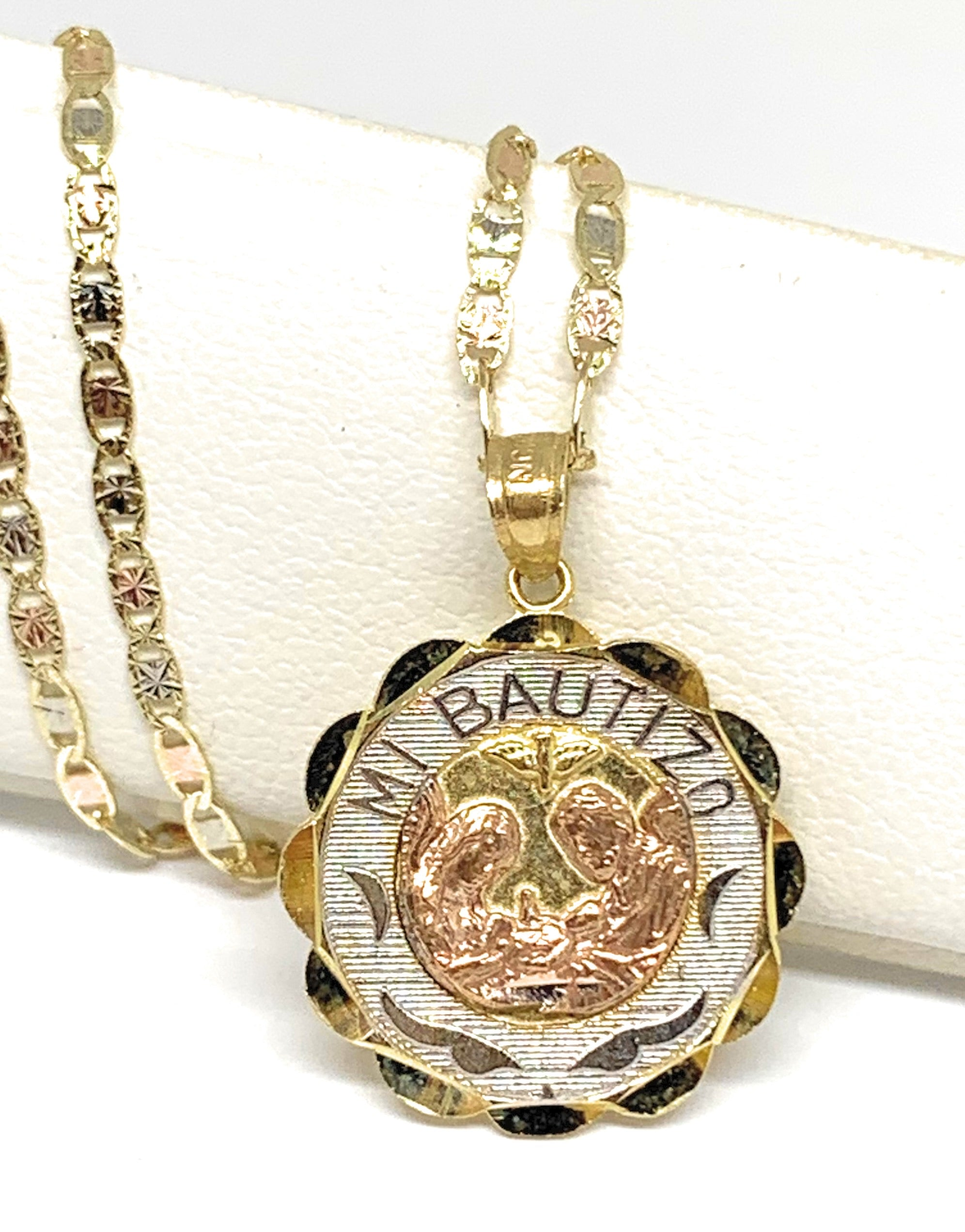 10k Solid Gold Tri-Color Baptism Bautizo Pendant Necklace For Kids Valentina Chain