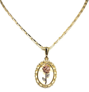 "Gold Plated Rose Pendant Necklace Chain 24"" Flor Pendant"