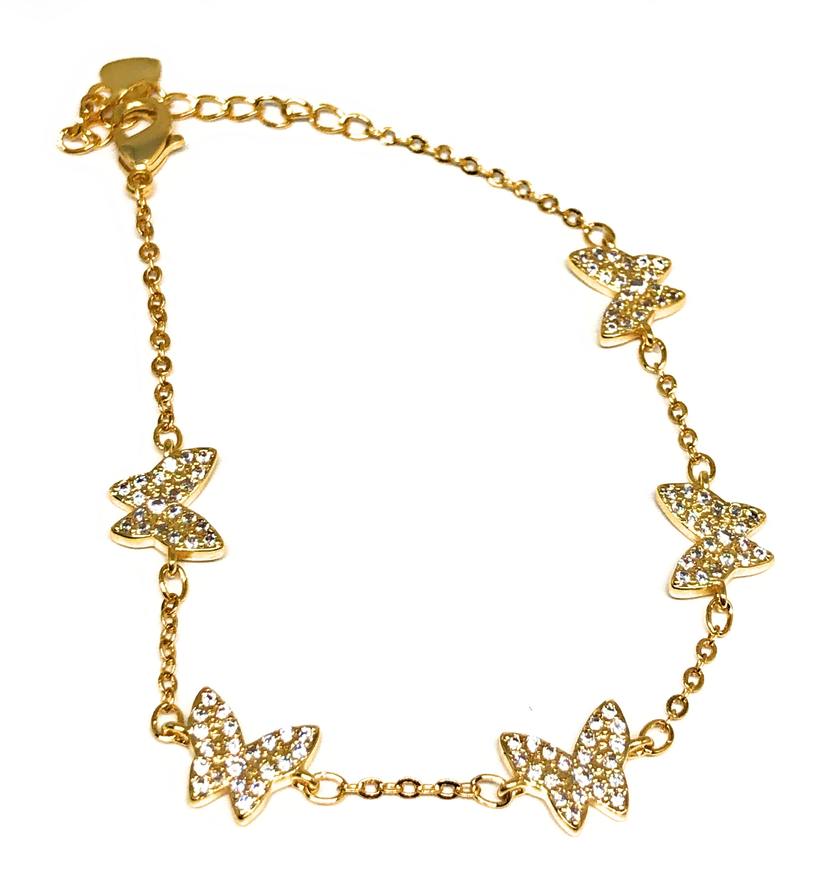 Gold Plated Butterfly Charm CZ Adjustable 8 inch Bracelet