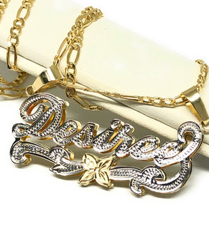 10k Solid Gold Yellow Custom Nameplate Pendant Necklace with Chain Options