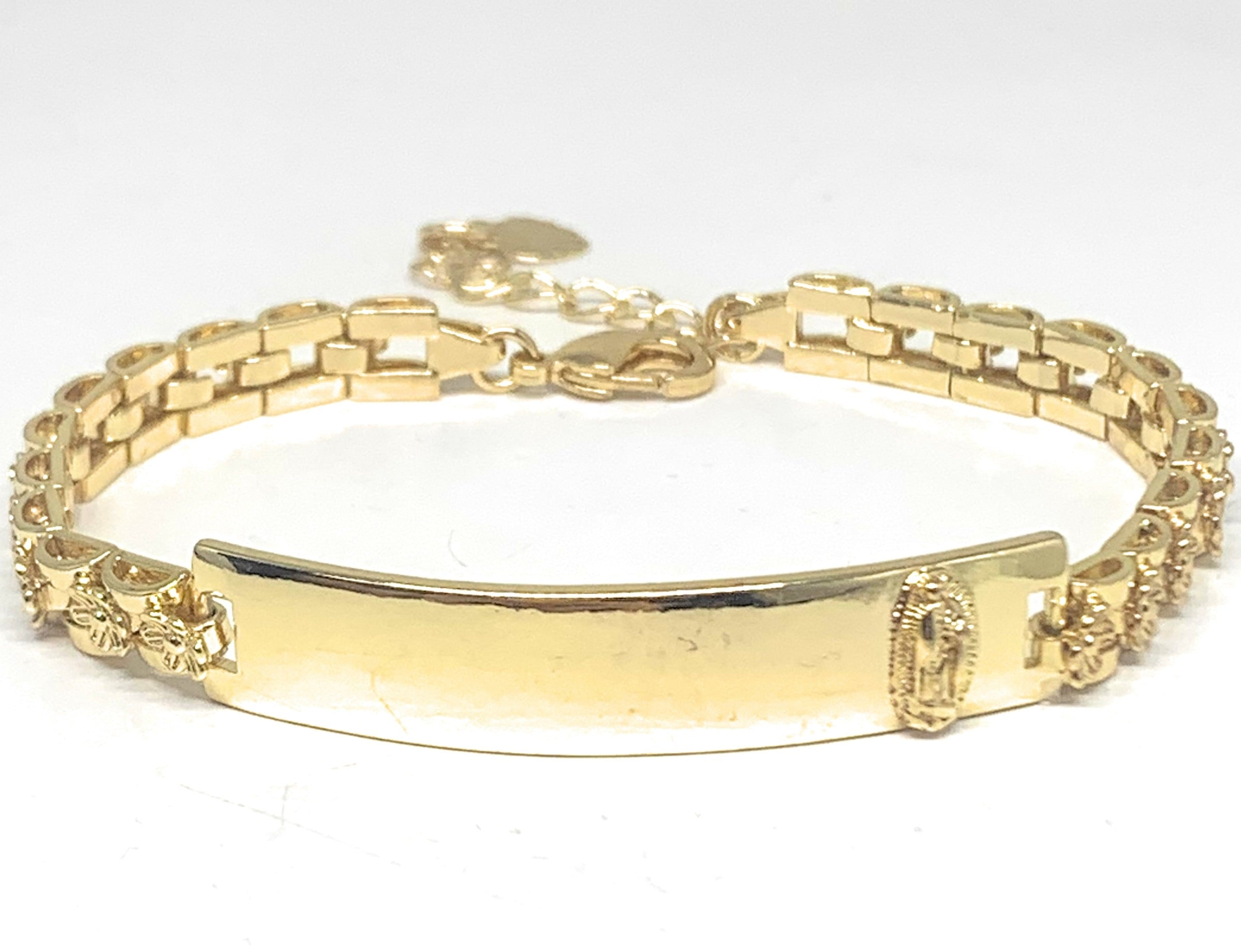 "Gold Plated Yellow Virgin Mary Flower ID Bracelet 7.5"" 5.5mm Width Esclava"