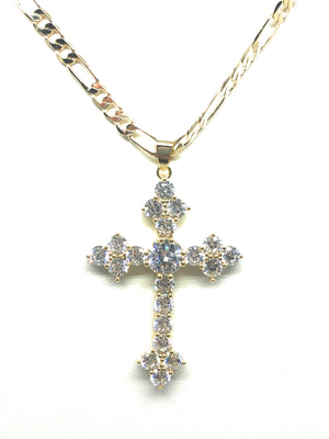 "Gold Plated Cubic Zirconia Embroidered Cross 24"" Necklace Cruz"