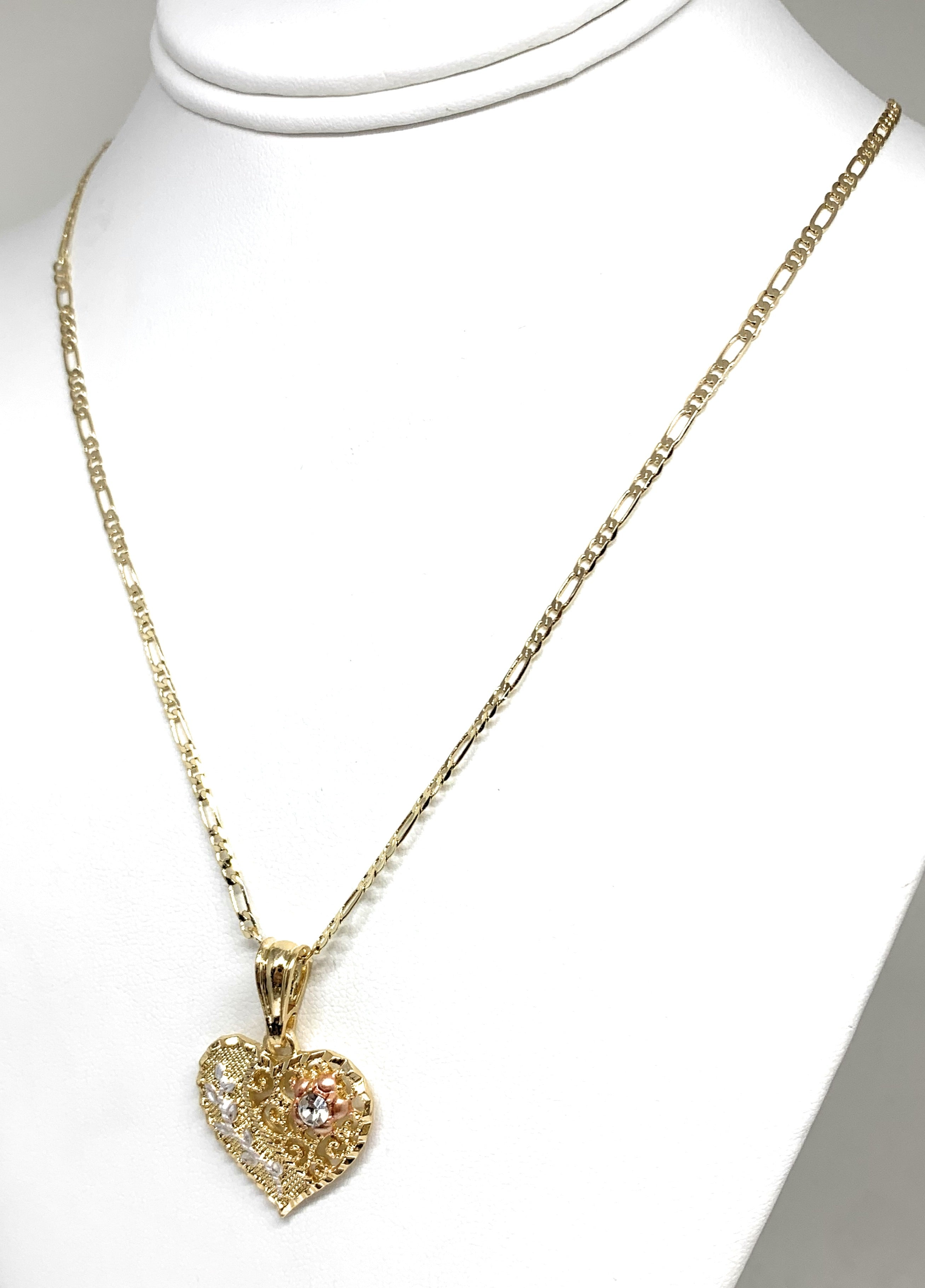 "Gold Plated Rose Heart CZ Pendant Necklace Chain 24"" Pendant"