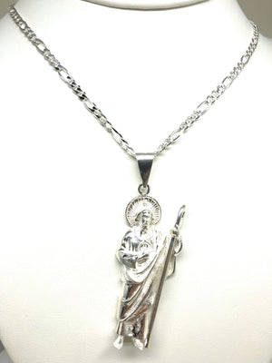 .925 Silver Saan Judas Pendant Necklace with Figaro Chain