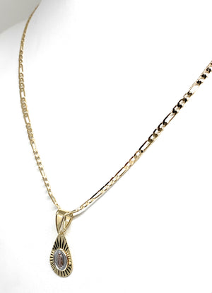 "Gold Plated Tri-Color Virgin Mary Teardrop Pendant Necklace Figaro 24"" Virgen de Guadalupe Medalla"