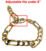 14k Solid Gold Yellow Figaro Diamond Cut (White Gold) Brracelet 8 inch 9mm Width