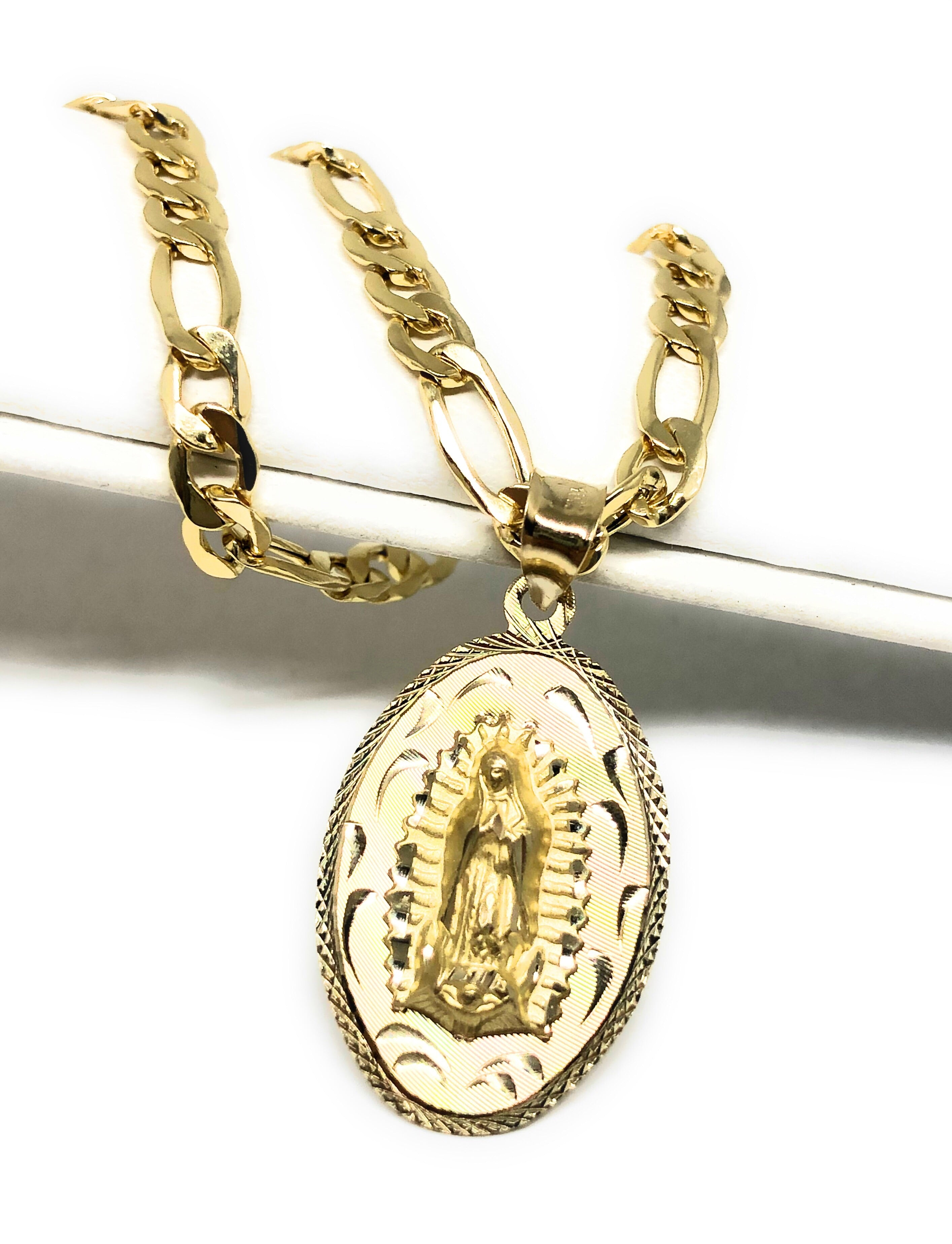 10k Solid Gold Yellow 2 Sided Virrgin Mary Jesus Christ Dos Lados Pendant Necklace with Chain