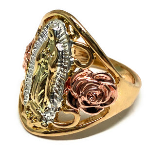 Gold Plated tri-color Virgin Mary Flower Ring Virgen De Guadalupe Anillo Flores