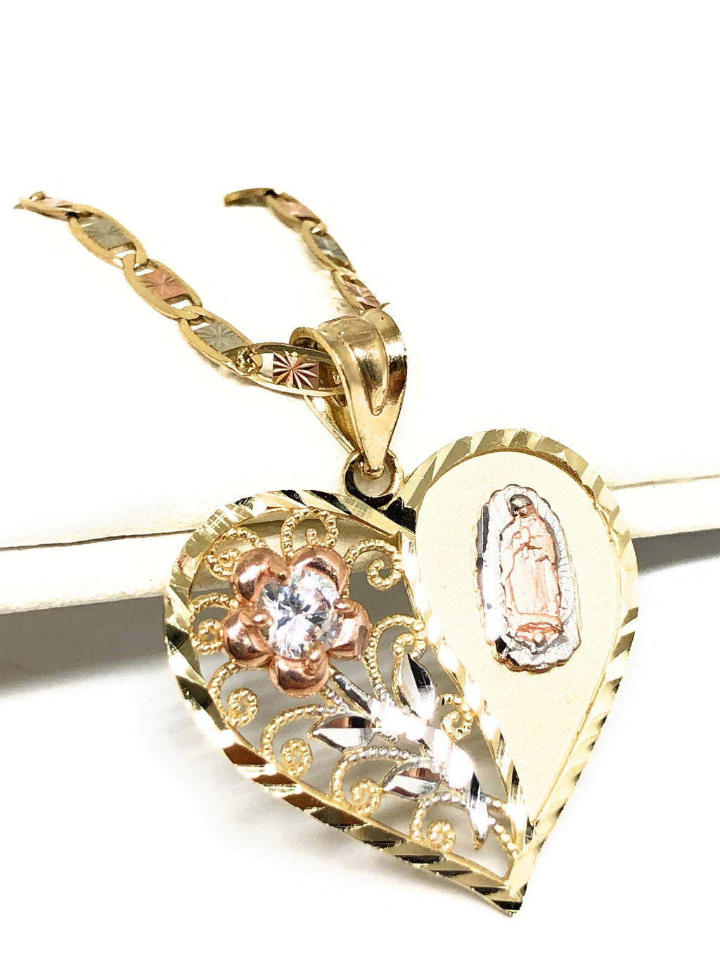 10k Solid Gold Tri-Color Virrgin Mary Heart & Flower CZ Pendant Necklace Virrgen Gaudalupe Valentina Chain
