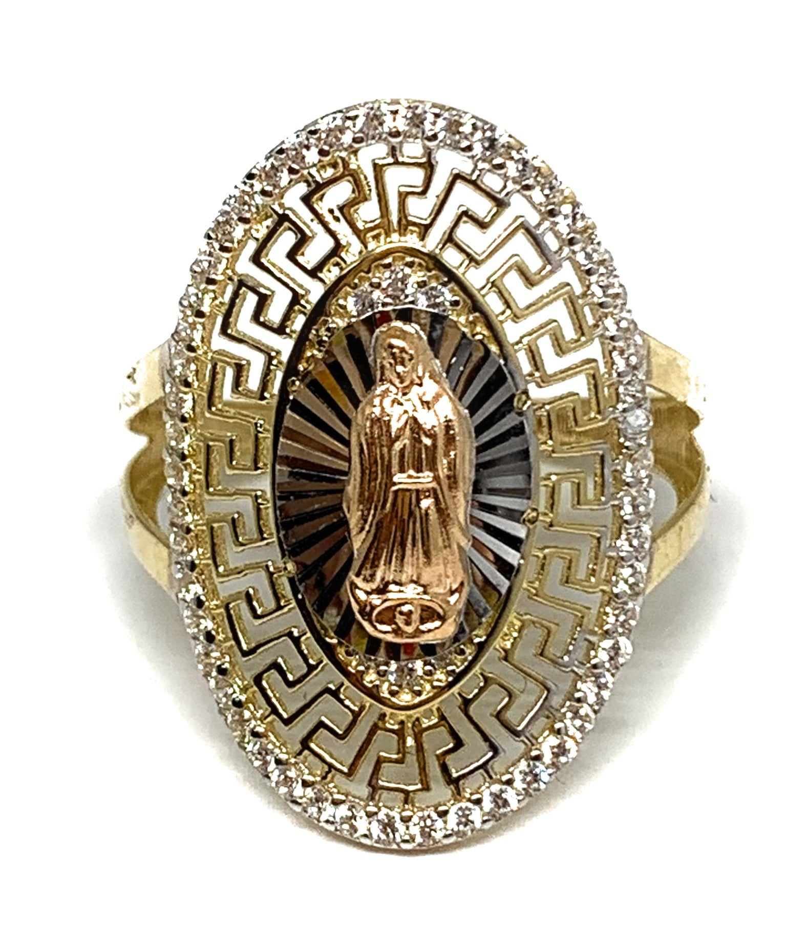 14k Solid Gold Tri-Color Virrgin Mary CZ Fancy Elegant Versace Ring