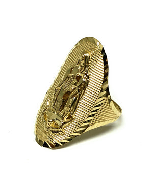 10k Solid Gold Yellow Virrgin Mary Oval Long Ring