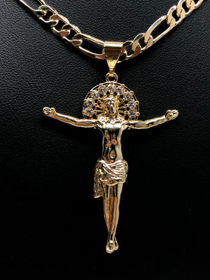 Gold Plated Jesus Christ Cross Pendant Necklace Chain Jesus Cristo Medalla 26""