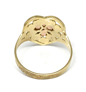10k Solid Gold Tri-Color Flower Ring