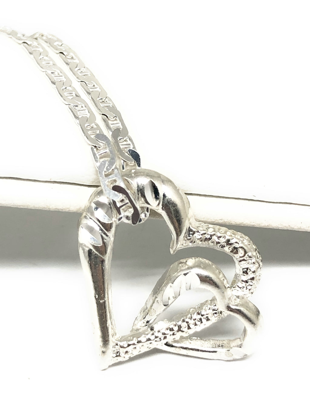 .925 Silver Double Heart Pendant Necklace with Chain Options