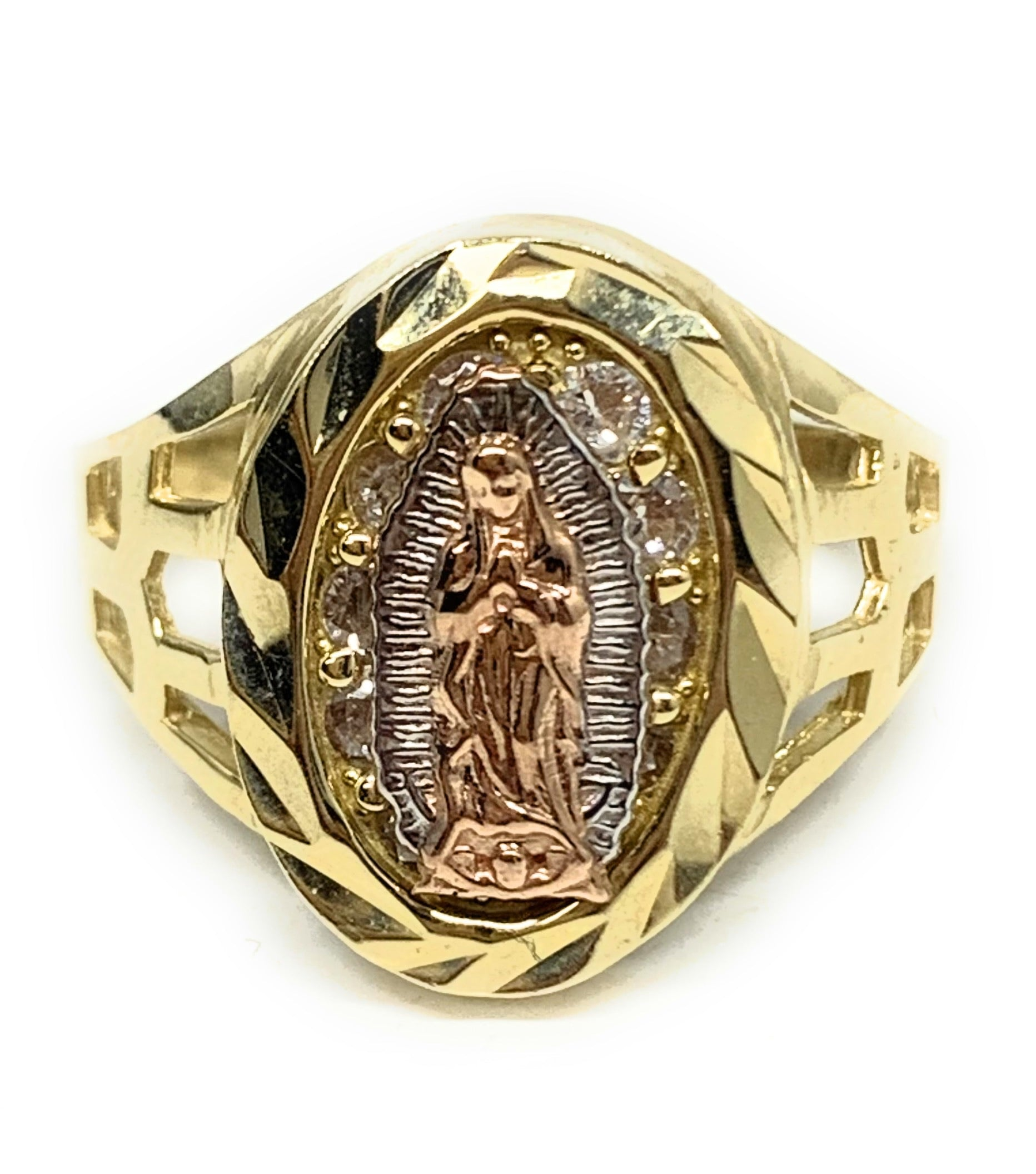10k Solid Gold Tri-Color Virrgin Mary CZ Ring