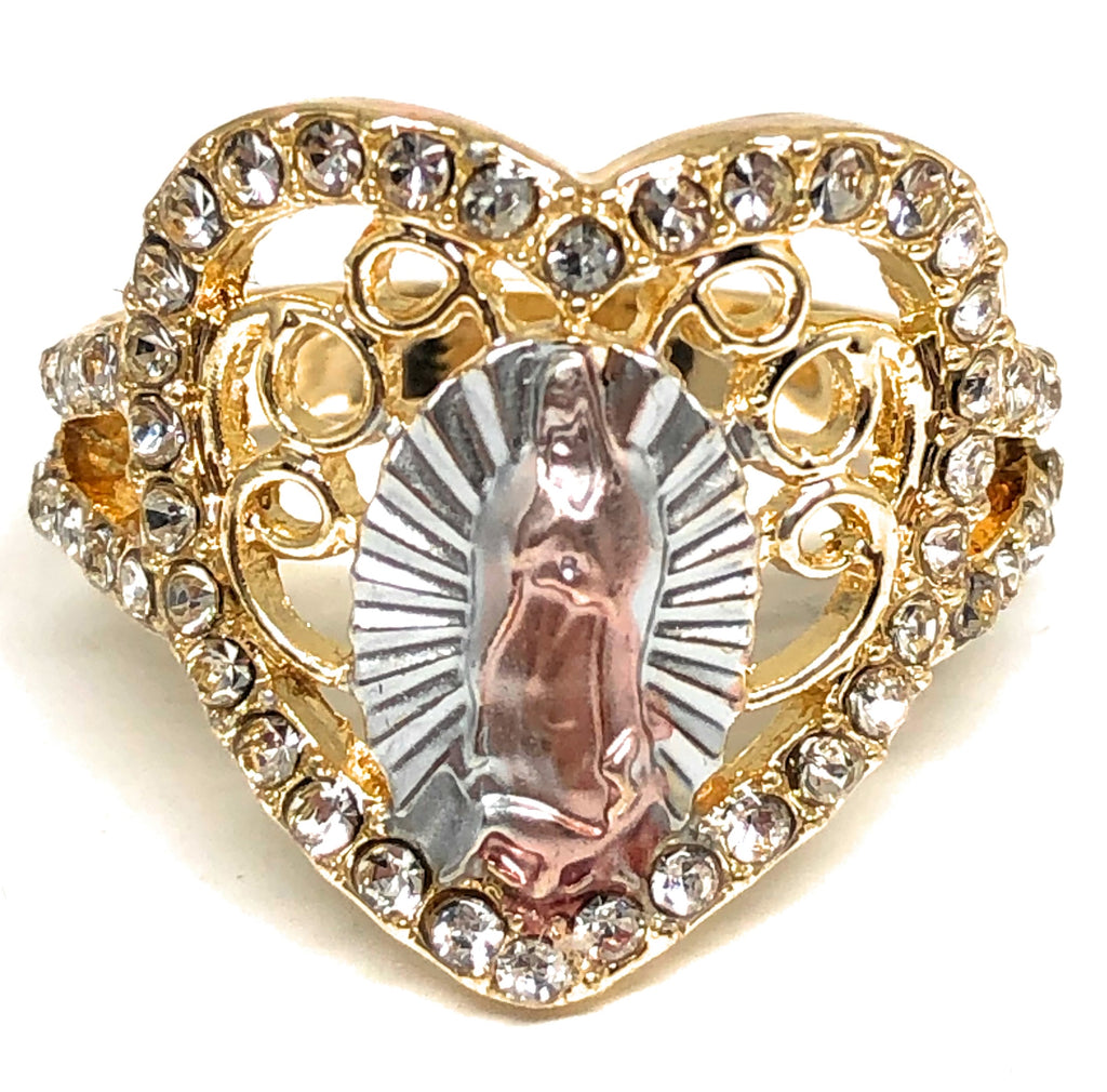 Gold Plated Tri-Color Virgin Mary Heart CZ Ring Virgen De Guadalupe Anillo Corazón