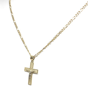 10k Solid Gold Yellow 2-Tone Jesus Layered Design SMALL Cross Crucifix Pendant Necklace