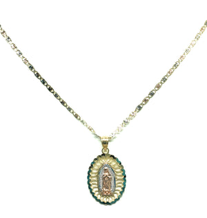 14k Solid Gold Tri-Color Virrgin Mary Pendant Virrgen Guadalupe Tri-Color Valentina Chain 1.9mm