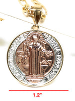 "Gold Plated 2-Tone Saint Benedict Medal Pendant Necklace San Benito Medalla Oro Figaro 26"" - Fran & Co. Jewelry"