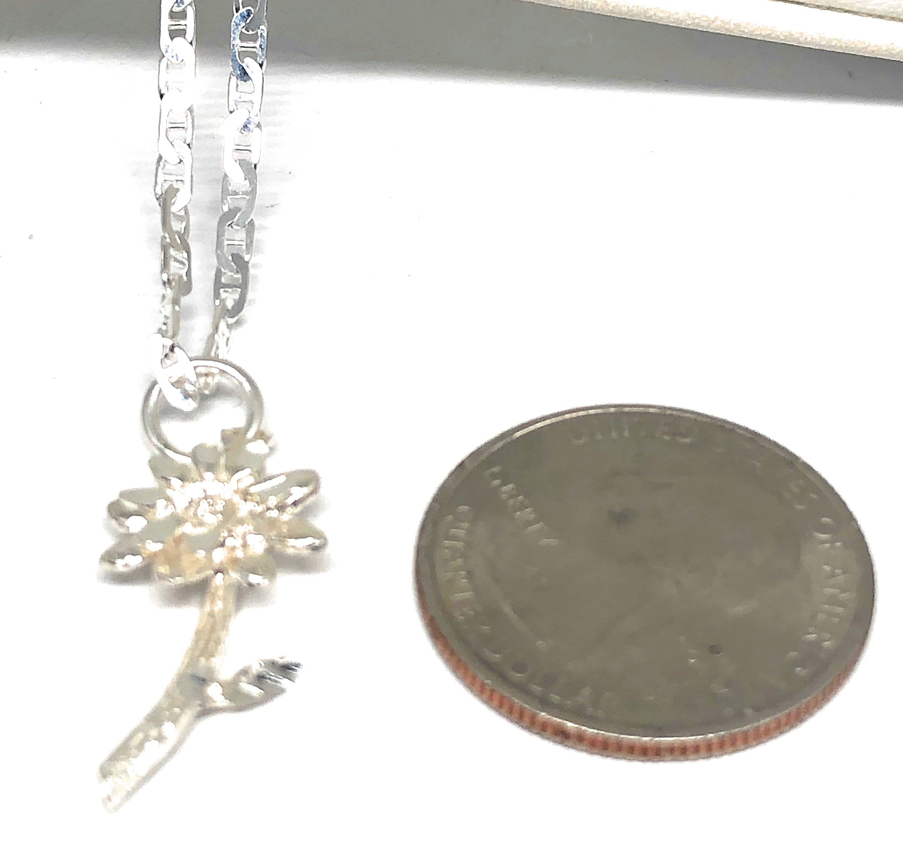 .925 Silver Flower Pendant Necklace with Chain Options