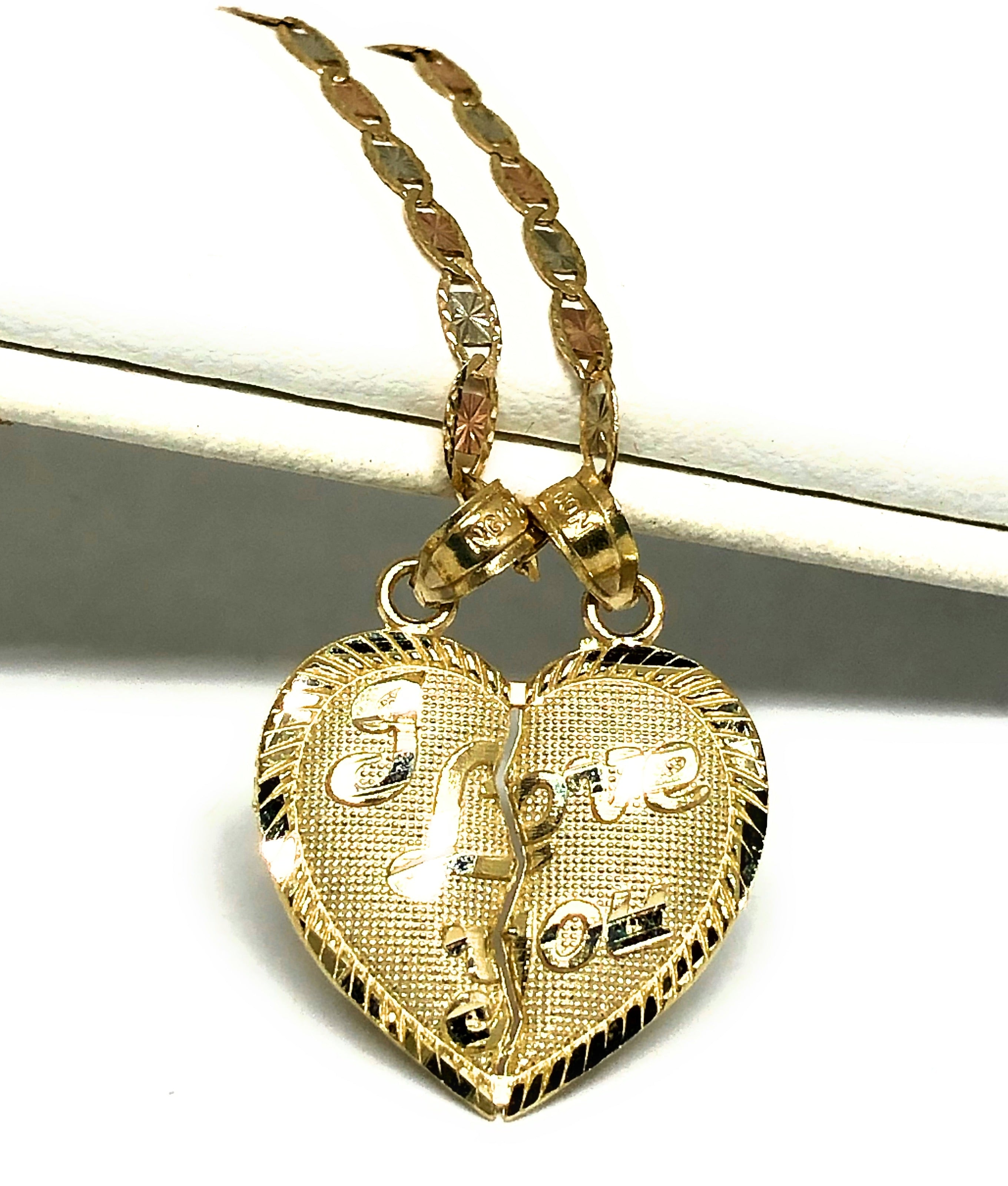 "10k Solid Gold Yellow Gold ""I LOVE YOU"" Heart Split Pendant"