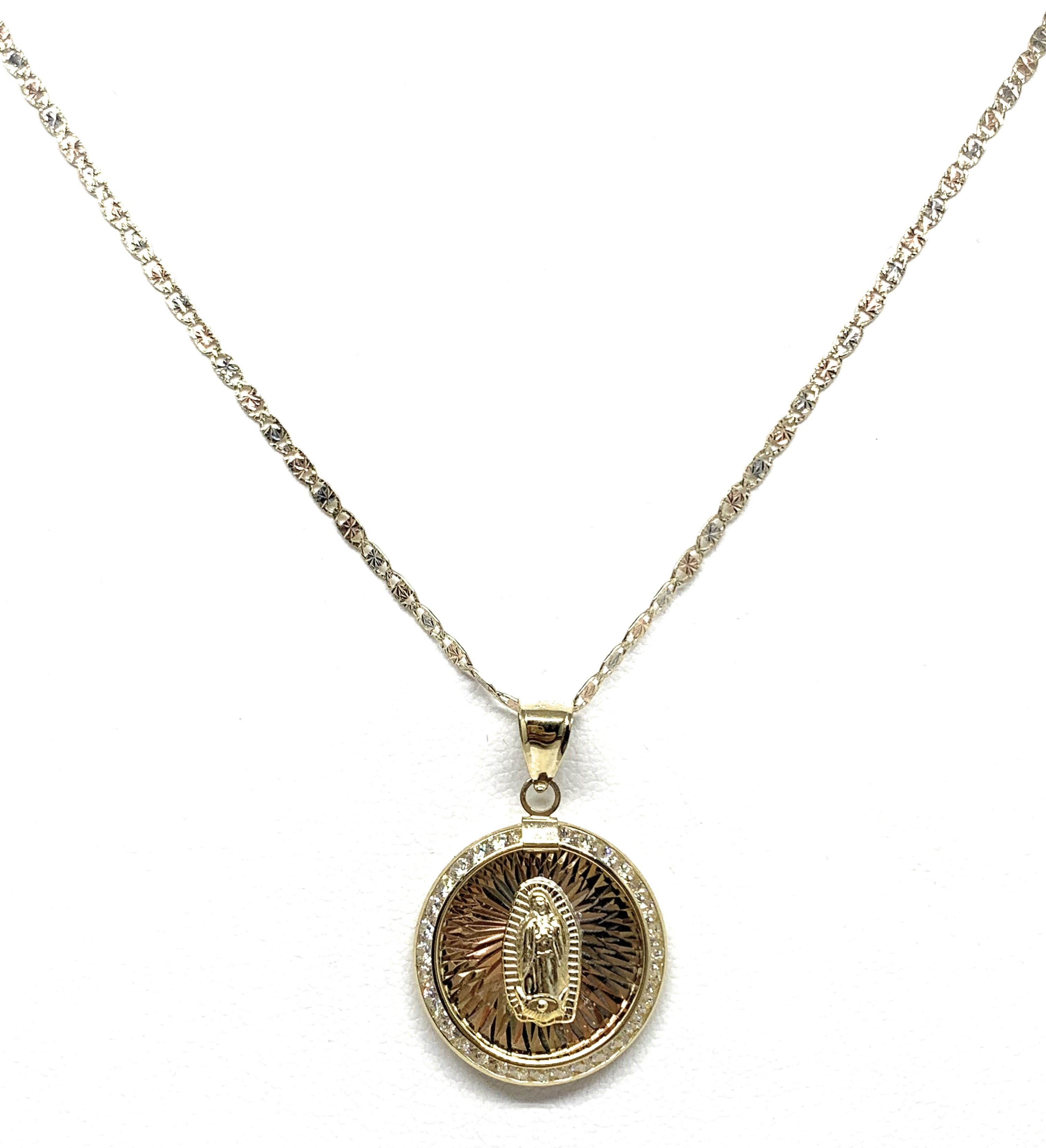 10k Solid Gold Tri-Color Virrgin Mary CZ Round Pendant Necklace Virrgen Gaudalupe (MED)