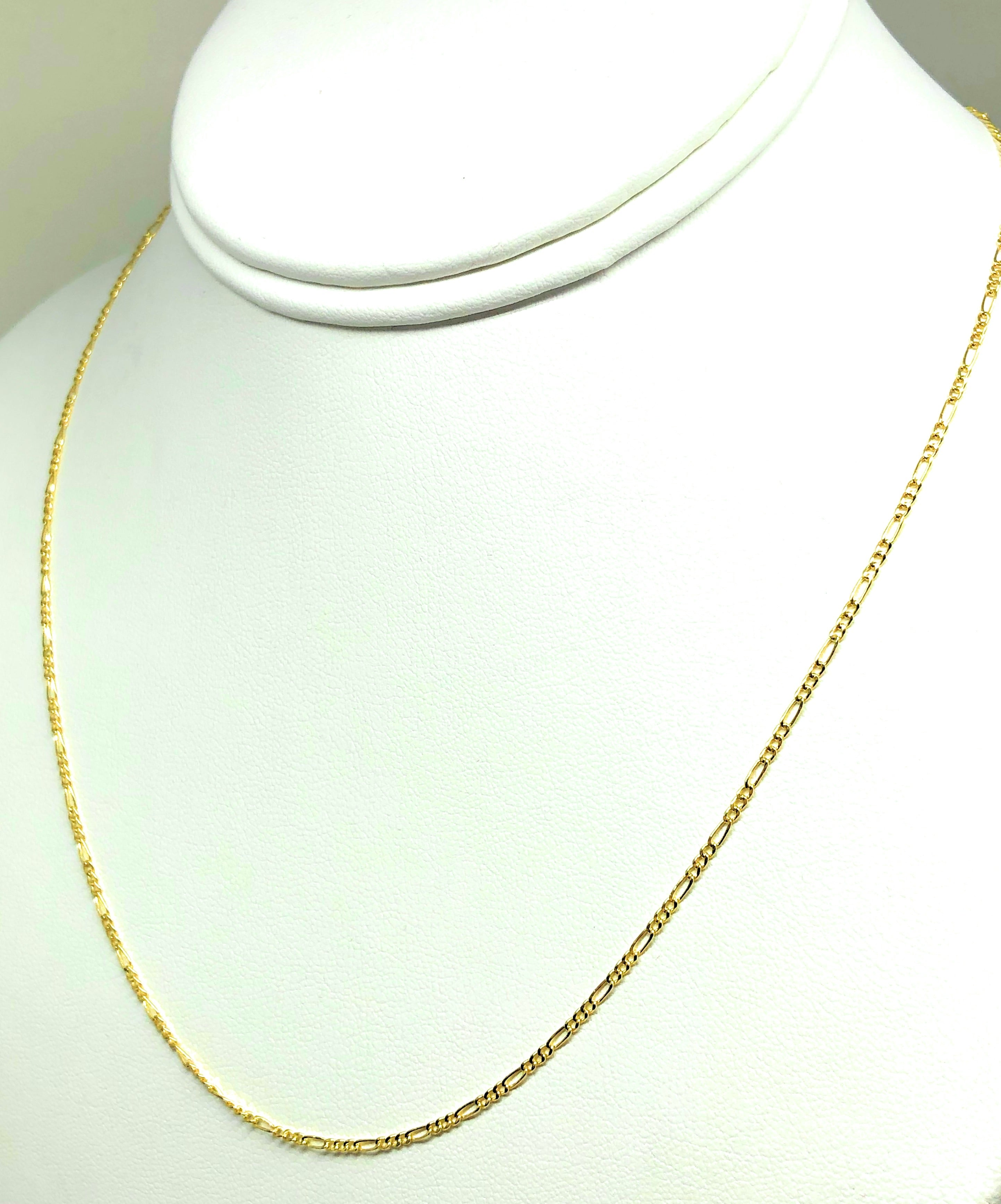 10k Solid Gold Figaro Chain 16-18 inch 1.5mm VERY THIN (Semi-Hollow Style)