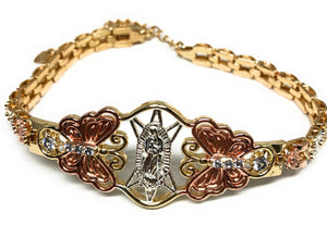 Gold Plated Tri-Color Virgin Mary Butterfly Bracelet Virgen De Guadalupe Pulsera Tres Colores Oro Laminado 8""