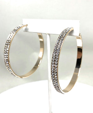 Gold Plated Yellow Double Hoop Earrings CZ Stones Aretes Arracadas
