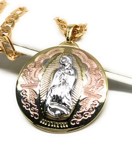 "Gold Plated Tri-Color Virgin Mary Pendant 26"" Chain / Virgen Guadalupe Medalla Pendant Necklace 26"" Tres Colores Cadena oro laminado"