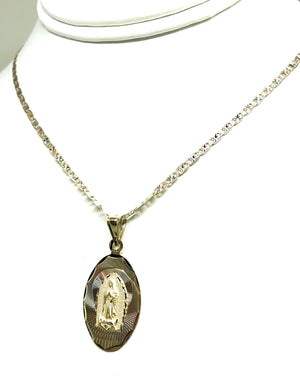 10k Solid Gold Tri-Color Oval Virrgin Mary Pendant Necklace Virrgen Gaudalupe Valentina Chain