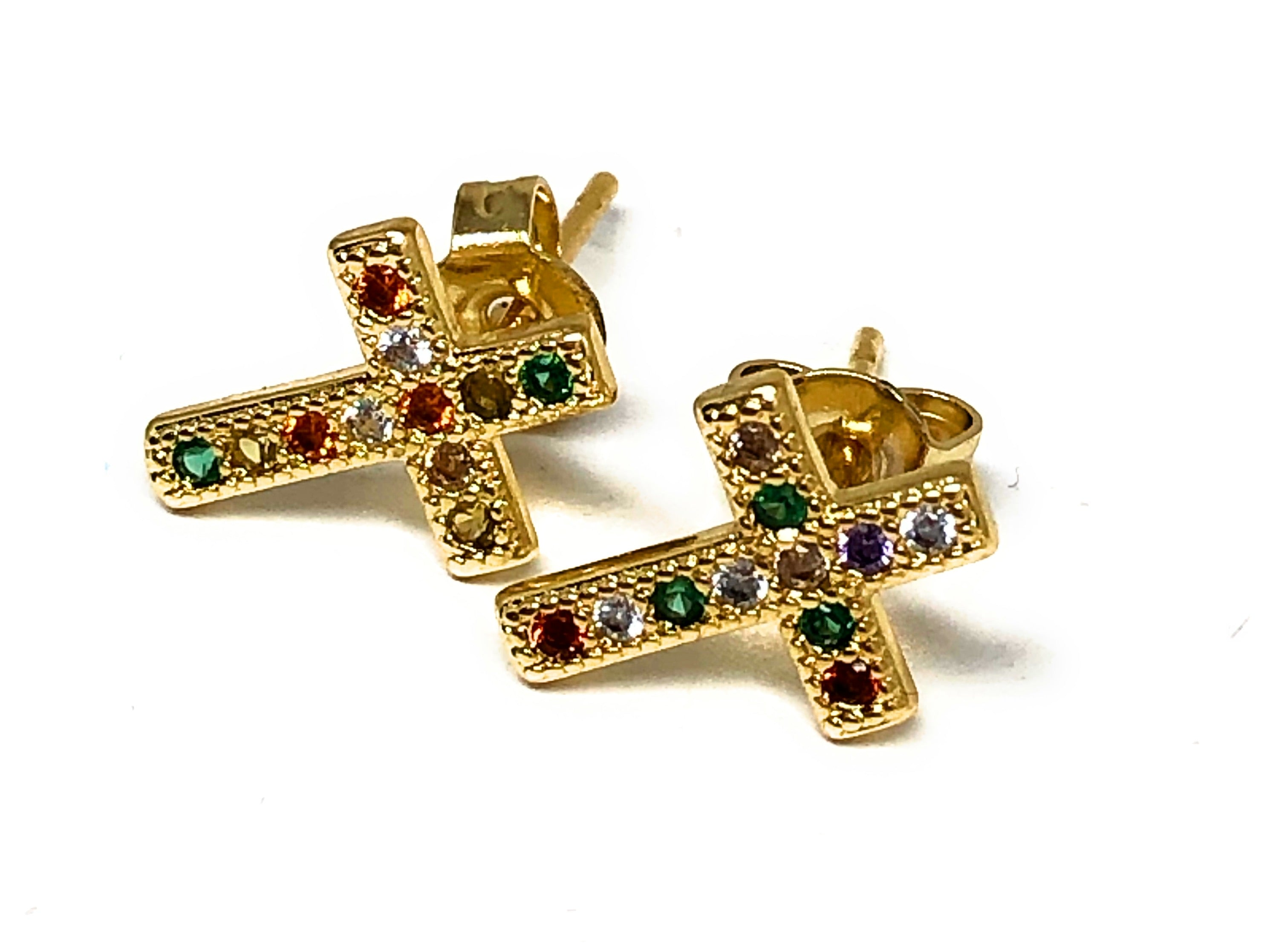 Gold Plated Colorful Cross Earrings  w/ Stones Aretes