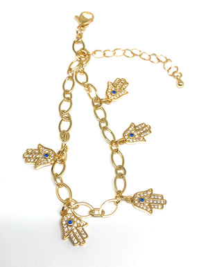 Gold Plated Hamsa Hands Protection Ankle Bracelet 8-11""