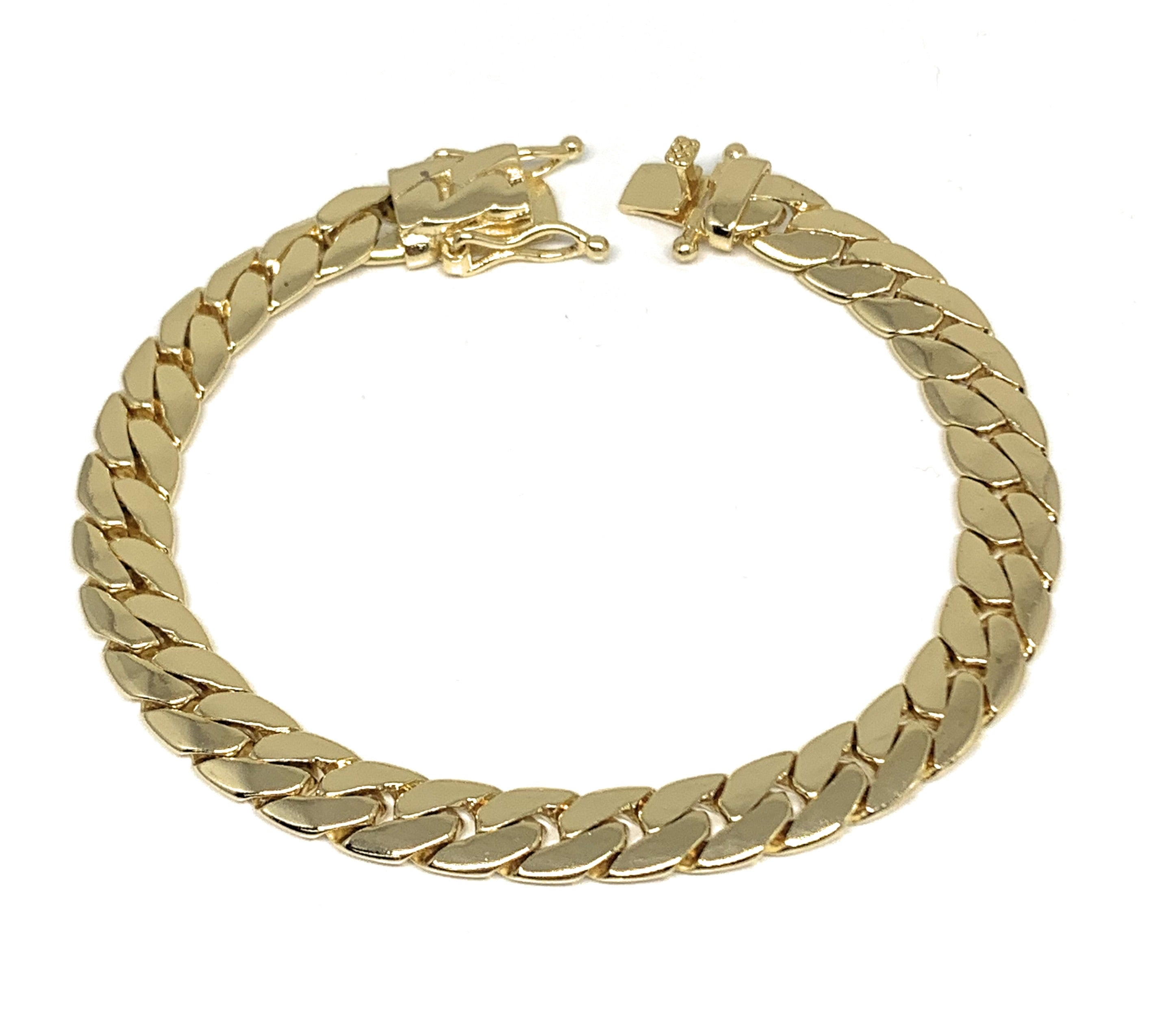 "Gold Plated Miami Cuban Link Box Lock Bracelet 8.5"" Inch 4.5-9mm Width Esclava"