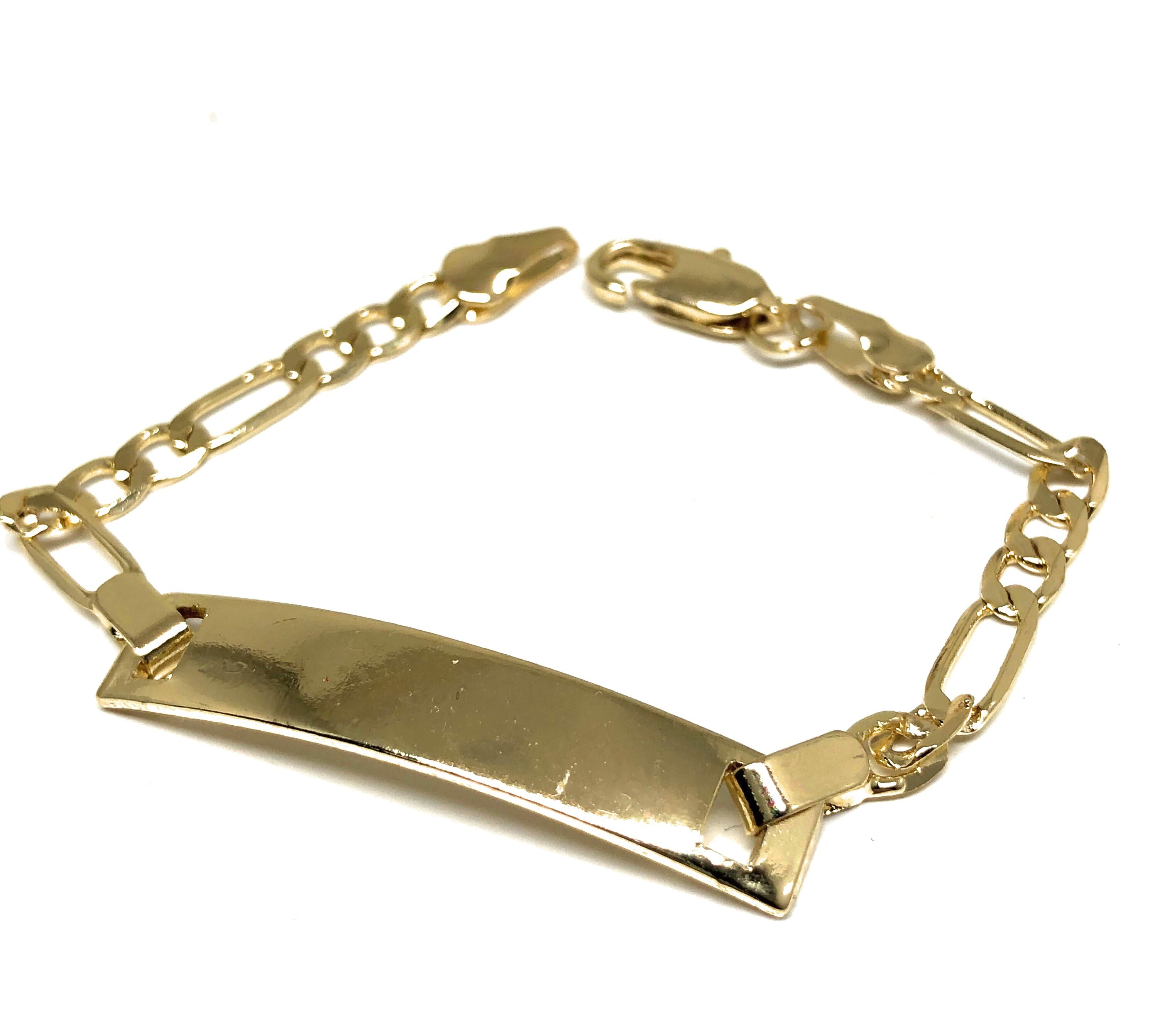 "Kids's Ages 7-13 Gold Plated ID Bracelet 6.5"" 3mm Width Esclava"