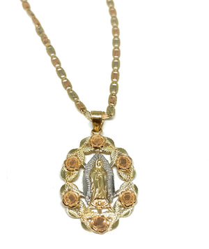 14k Solid Gold Tri-Color Virrgin Mary Flower Pendant Necklace Virrgen Gaudalupe Valentina Chain